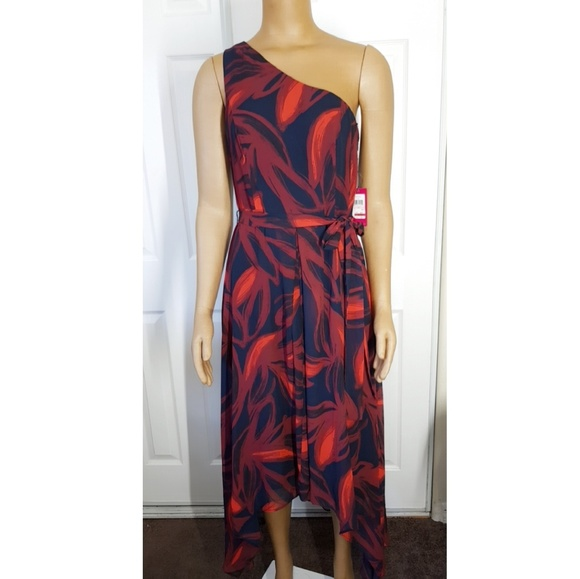 Vince Camuto Blue Red Womens Printed One-Shoulder 104ad27b2b
